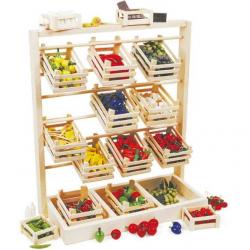 Dřevěné hračky - Dřevěný prodejní stojan s přepravkami