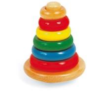 Dřevěné hračky - Navlékací kroužky na tyč Pyramida