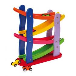 Drewniane zabawki - Drewniany tor wyścigowy i 4 samochodziki