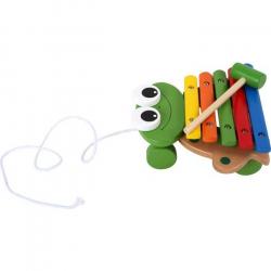 Detské drevené hudobné nástroje - Ťahacie Xylofón žaba