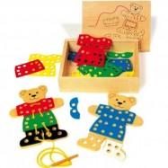 Dřevěná hračka - provlékání - Oblékací medvídek