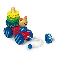 Dřevěné hračky - Tahací hračka + nasazování medvěd