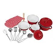 Dětské kovové červené nádobí