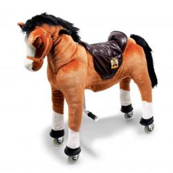 Pohyblivý detský jazdecký kôň na kolieskach Blesk