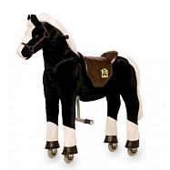 Pohyblivý dětský jezdecký kůň na kolečkách Hrom