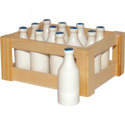 Dřevěné hračky - Bedýnka s 12 sklenicemi mléka