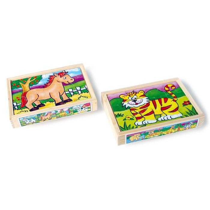 Dřevěné hračky -  Puzzle v krabičce - Zvířata
