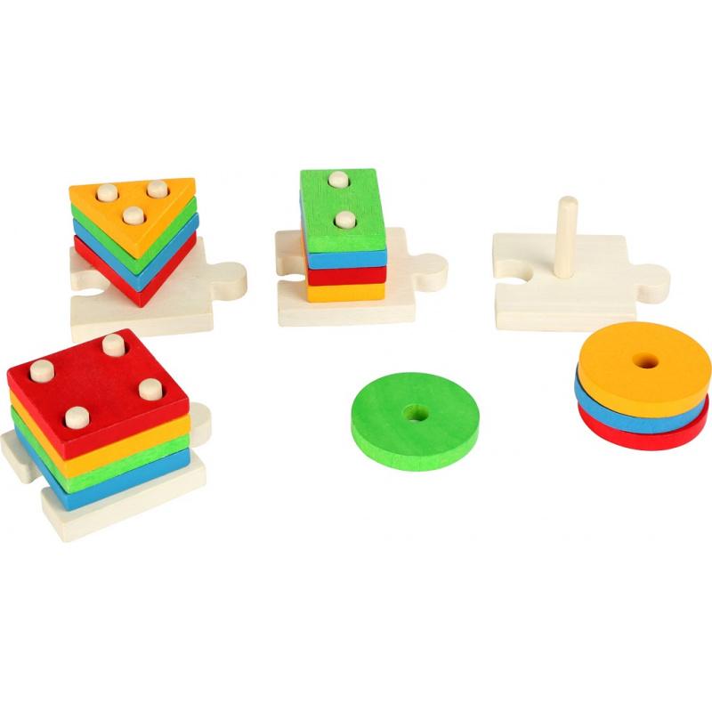 Small Foot Puzzle Nasadzovanie farebných tvarov na tyče