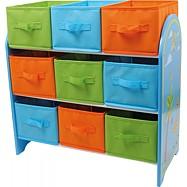 Box na hračky - Dřevěná úložná police  s 9 boxy