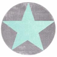 122c44d06 Detský guľatý koberec STARS striebornosivý/ mätový 133 cm