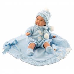 Llorens 38937 Lalka płacząca Joel 38 cm z błękitnym kocykiem