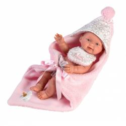 Llorens 26308 NEW BORN DIEVČATKO - realistická bábika bábätko s celovinylovým telom - 26 cm