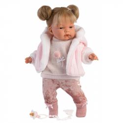 Llorens 38348 JOELLE - realistická bábika so zvukmi a mäkkým látkovým telom - 38 cm