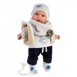 Llorens 42401 ENZO - realistická bábika so zvukmi a mäkkým látkovým telom - 42 cm