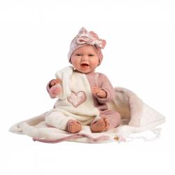 Llorens 74008 NEW BORN - realistická bábika bábätko sa zvuky a mäkkým látkovým telom - 42 cm
