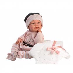 Llorens 84326 NEW BORN DIEVČATKO - realistická bábika bábätko s celovinylovým telom - 43 cm