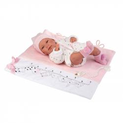 Llorens 84328 NEW BORN DIEVČATKO - realistická bábika bábätko s celovinylovým telom - 43 cm