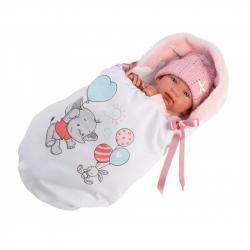 Llorens 84452 NEW BORN - realistická bábika bábätko sa zvuky a mäkkým látkovým telom - 44 cm