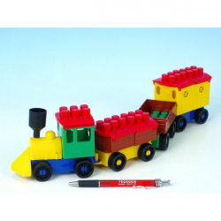 Stavebnica LORI 6 vlak + 3 vagóniky plast v sáčku 9x29x5cm