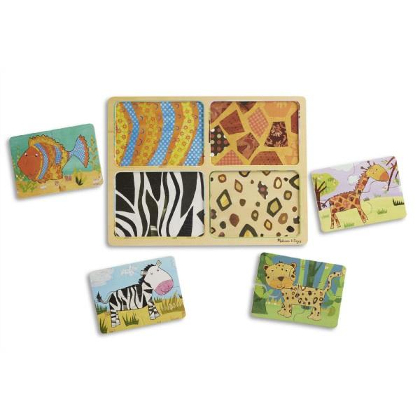 Drewniana tablica do układania w podróż Zwierzęta 16 sztuk w papierowej torbie