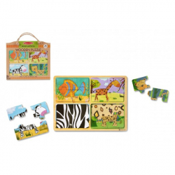 Drevené puzzle doskové na cestu Zvieratá 16 ks v papierovej taške