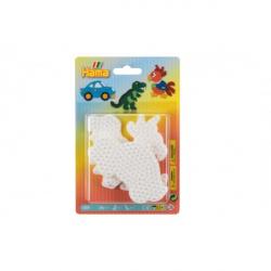 Podložka na zažehlovací korálky auto,papoušek,dinosaurus plast 3ks na kartě 12x18x3cm