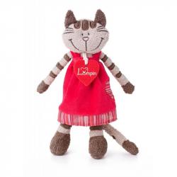 Kočička Angelique v jahodových šatech malá 23 cm