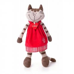 Kočička Angelique v jahodových šatech střední 36 cm