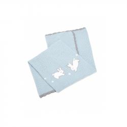 Pletená deka Králici modrá