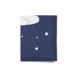 Pletená deka nočná obloha modrá