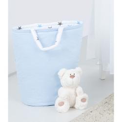 Box na hračky - oboustranný, sv. modrá / hvězdičky šedé a modré