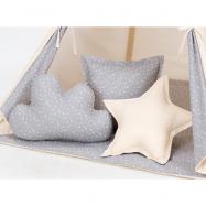 Polštáře pro stan teepee, týpí - béžový / mini hvězdičky bílé na šedém