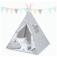 Stan pro děti teepee, týpí s výbavou - Hvězdy bílé na šedé/hvězdy šedé na bílé