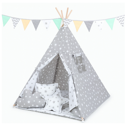 Stan pre deti teepee, típí s výbavou - Hviezdy biele na šedej / hviezdy šedé na bielej