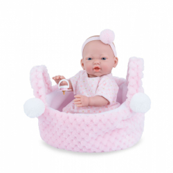 Marina & Pau 202-AK Bábika - kúpacie bábätko New Born dievčatko v košíčku - 21 cm