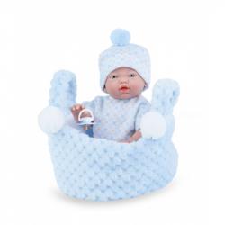 Marina & Pau 202-BK Bábika - kúpacie bábätko New Born chlapček v košíčku - 21 cm