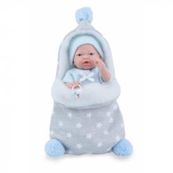 Marina & Pau 212-BK Bábika - kúpacie bábätko New Born chlapček s fusakom - 21 cm