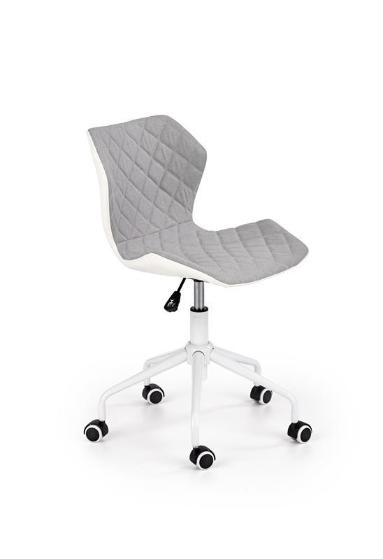 Dětská otočná židle Halmar MATRIX světle šedá-bílá