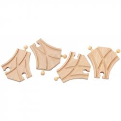 Dřevěné vláčkodráhy Maxim - Symetrická výhybka - 4ks