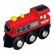 Vláček dřevěné vláčkodráhy Maxim Parní lokomotiva - červená