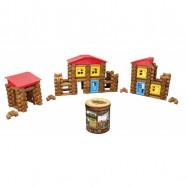 Dřevěná stavebnice Maxim Srubová stavebnice -270 kusů v tubu