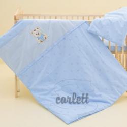 Komplet poszewek na pościel do łóżeczka Miś - niebieski