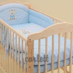 Komplet 3 cześciowy do łóżeczka Miś - niebieski