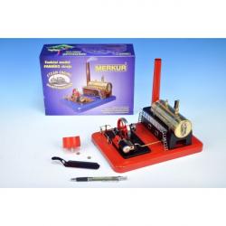 Stavebnica MERKUR funkčný model parného stroja Standart v krabici 28x11x20cm