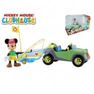 Mickey Mouse auto 12cm s rybářským člunem a kloubovou figurkou s doplňky v krabičce
