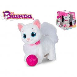 Bianca mačička plyšová 25cm na batérie chodiace so zvukom 18m + v krabičke