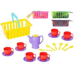 Čajový set v košíku 4barvy v sieťke