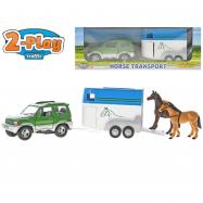 Auto Mitsubishi Pajero s přívěsem + 2 koně v krabičce