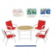 Nábytek pro panenky - stůl+4 židle se sedáky 4barvy v sáčku