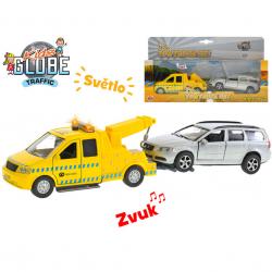 Auto kov 14cm na spätný chod BO so svetlom a zvukom s prívesom + Volvo V70 13cm v krabičke
